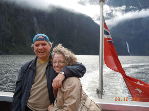 Jim and Joan Bowman in Milford Sound