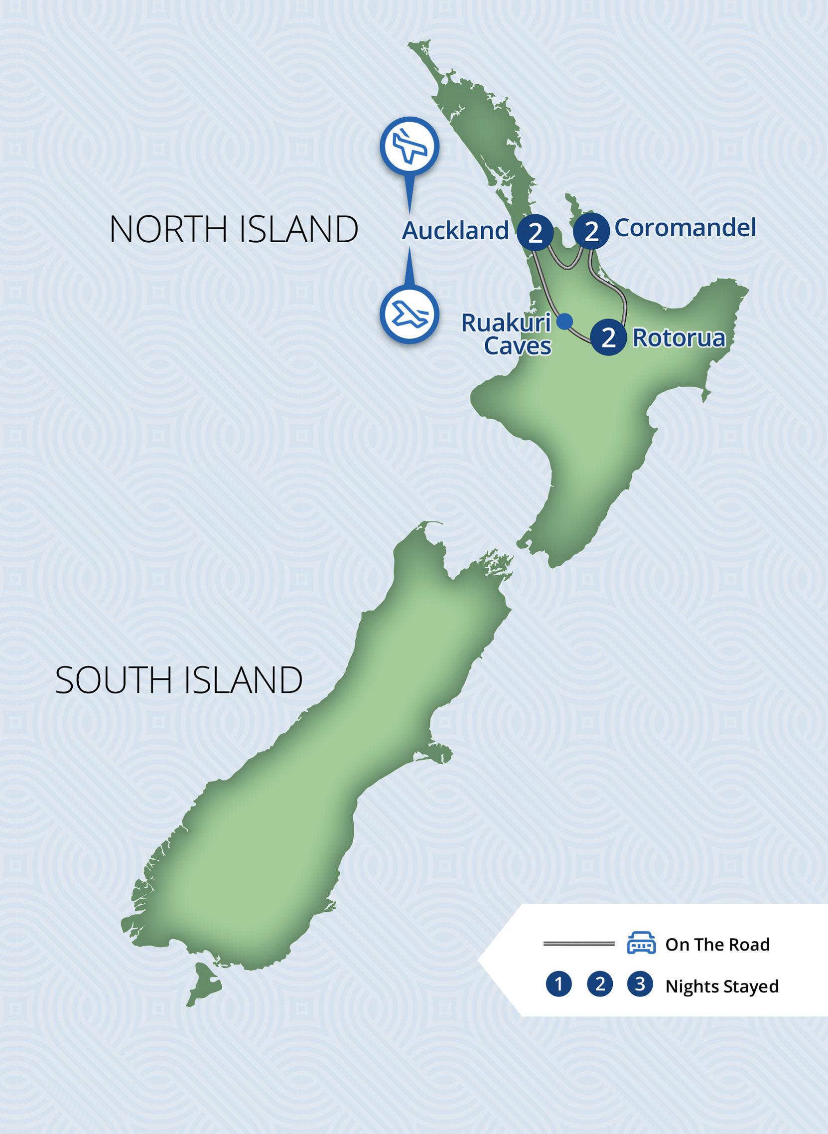 Coromandel & Thermals 7 Day North Island Budget Self Drive Tour