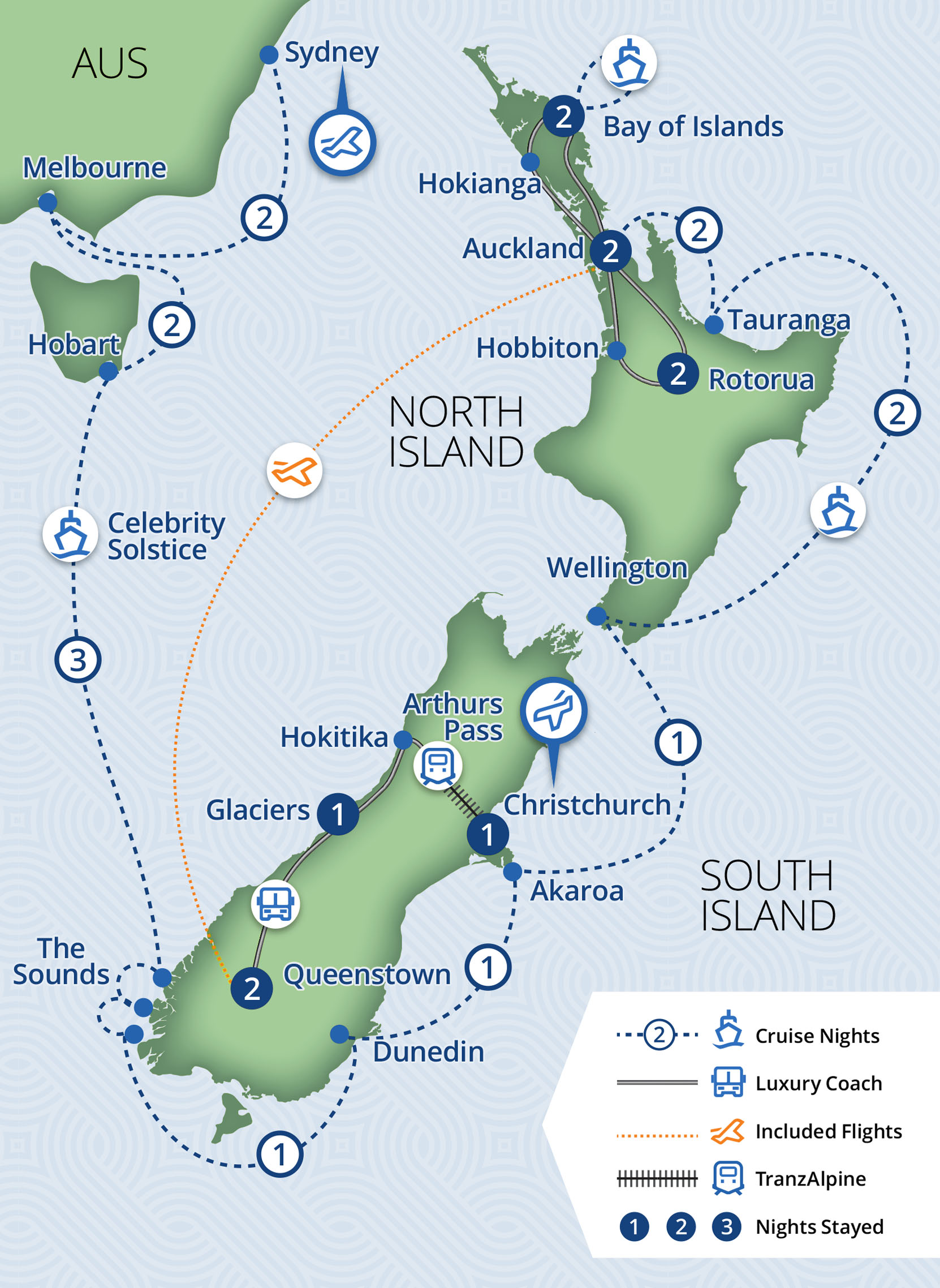 25 Day New Zealand Vista Coach & Cruise
