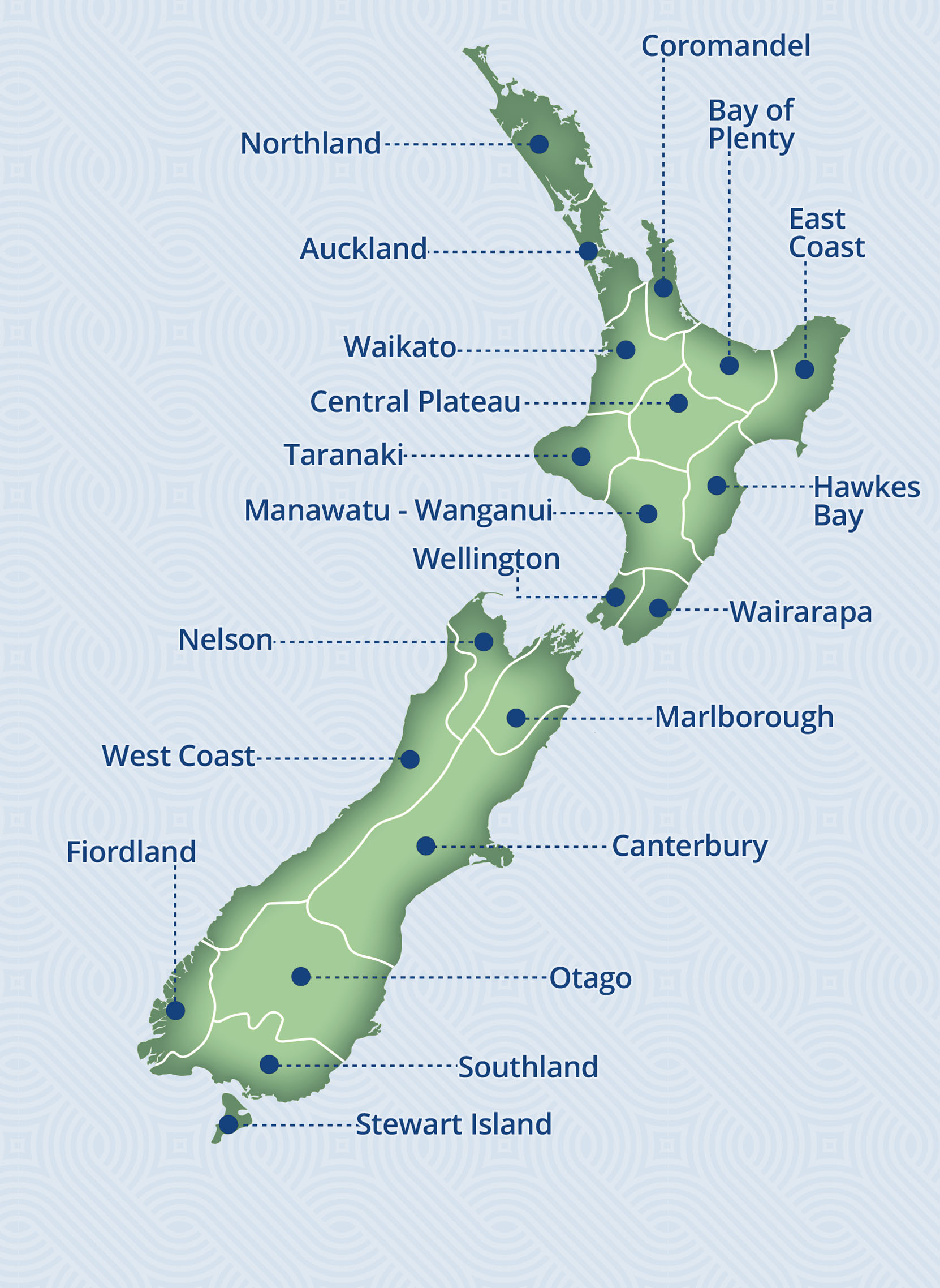 New Zealand Locations Map